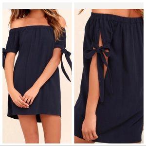 Lulus Black Off the Shoulder Bow Sleeves Dress